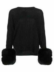 Izaak Azanei pompom-cuff cashmere jumper - Black