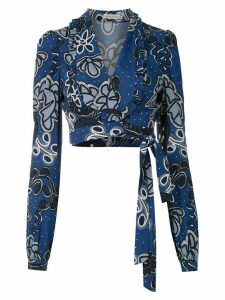 Martha Medeiros Fernanda cropped blouse - Blue