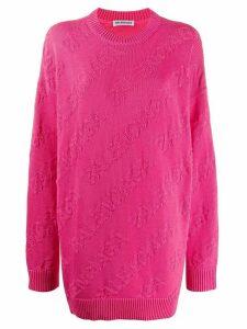 Balenciaga textured logo crewneck jumper - PINK
