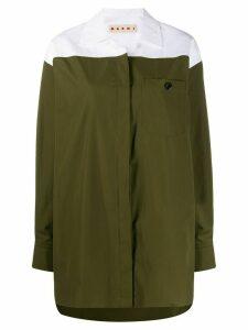 Marni colour-block oversized shirt - Green