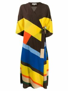 Chinti and Parker striped silk wrap dress - Brown