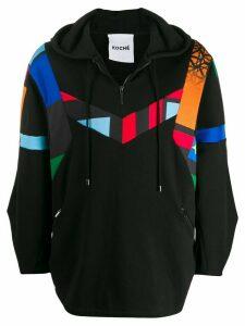 Koché patchwork printed hoodie - Black