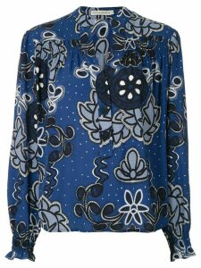 Martha Medeiros gathered cuffs flower print blouse - Blue