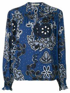 Martha Medeiros gathered cuffs flower print blouse - Blue