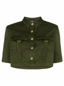 Balmain military-look cropped shirt - Green