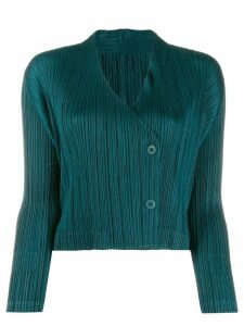 Pleats Please Issey Miyake pleated long-sleeve cardigan - Green