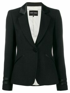 Giorgio Armani faux leather trim blazer - Black