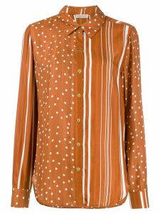 Stine Goya contrast print curved hem shirt - Brown