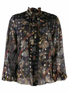 Chloé floral-print sheer blouse - Blue