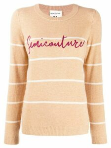 Semicouture logo print knit jumper - Brown