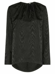 Totême tonal print gathered blouse - Black