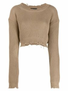 Dsquared2 distressed knitted logo jumper - NEUTRALS