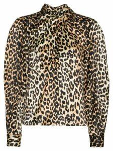 GANNI tie-neck leopard print blouse - Black