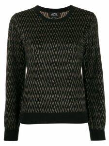 A.P.C. zigzag pattern crew-neck pullover - Black