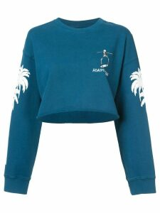 Adaptation cropped tree print sweatshirt - Blue