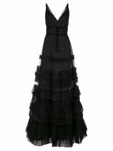 Marchesa Notte ruffled glitter-embellished gown - Black