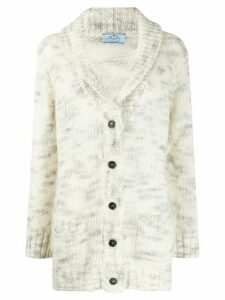 Prada shawl-collar knitted cardigan - White