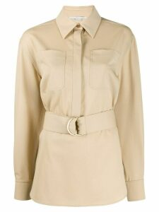 Stella McCartney belted long-sleeve shirt - NEUTRALS
