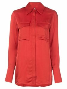 Victoria Victoria Beckham chest pocket long sleeve shirt - Red