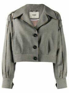Fendi cropped camouflage-trimmed jacket - NEUTRALS