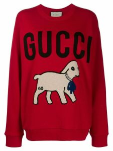 Gucci lamb motif logo sweatshirt - Red
