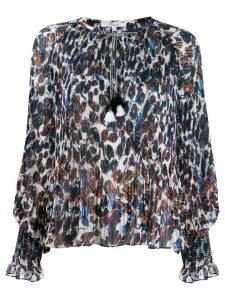 Derek Lam 10 Crosby Helena pleated speckled floral blouse - ECU ECRU