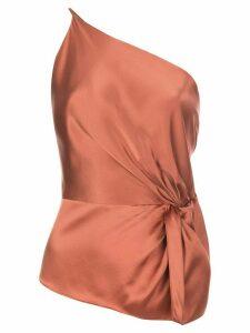 Michelle Mason twist knot silk top - PINK