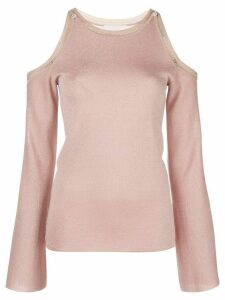 Peter Pilotto glittered cold-shoulder jumper - PINK