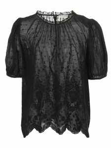 Ulla Johnson Emmie embroidered puff-sleeve blouse - Black