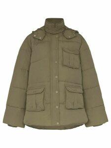 GANNI hooded puffer jacket - Brown