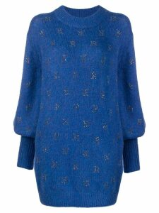John Richmond rhinestone-embellished logo jumper - Blue
