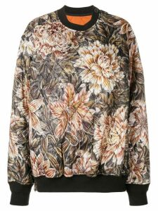 Y-3 quilted floral print oversized sweater - NEUTRALS