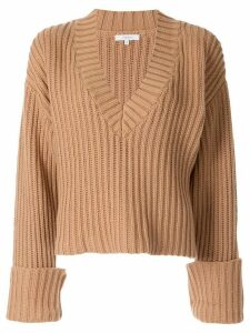 Venroy Chunky V Neck Sweater - Brown