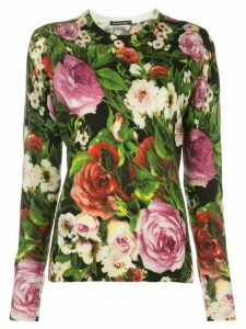 Samantha Sung Womens Knit black Multi Rose print Pullover