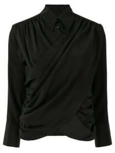 AKIRA NAKA long sleeve draped front blouse - Black