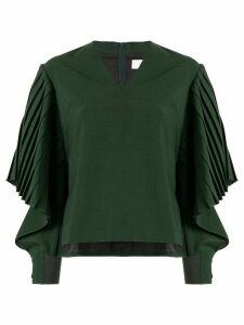 AKIRA NAKA draped pleated sleeve top - Green