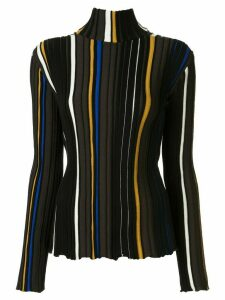 AKIRA NAKA striped knit turtleneck jumper - Black