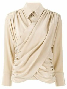 AKIRA NAKA long sleeve draped front blouse - Brown