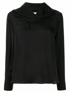 AKIRA NAKA long sleeve draped neck blouse - Black