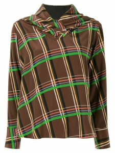 AKIRA NAKA draped neck checked blouse - Brown