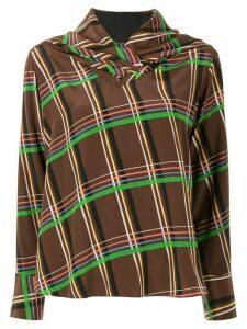 AKIRA NAKA draped neck checked blouse - Brown
