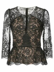 Marchesa Notte lace peplum blouse - Black