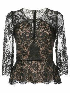 Marchesa Notte lace peplum blouse - Black