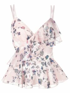 Marchesa Notte floral print top - PINK