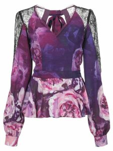 Marchesa Notte lace panels floral blouse - PURPLE