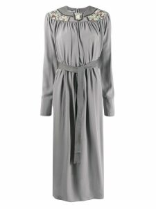 Stella McCartney floral-panel belted midi-dress - Grey