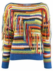 Stella McCartney striped tassel knitted jumper - Blue
