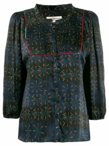 Jessie Western abstract print pintucked blouse - Blue