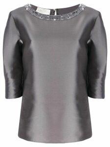 Alberta Ferretti embellished collar blouse - Grey
