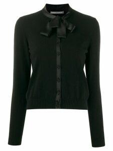 Alberta Ferretti satin-trimmed cardigan - Black